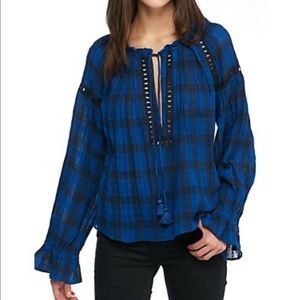 Free People NWT honey grove plaid top blue